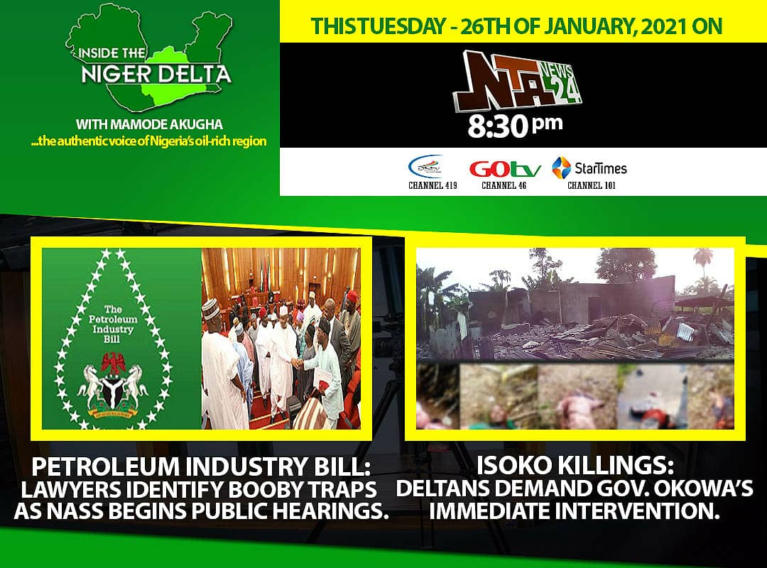 Join us on NTANEWS24 channel 419 at 8:30pm for Inside the Niger Delta with Mamode Akugha #insidethenigerdelta #ndntv #PIB #tuesdayvibe