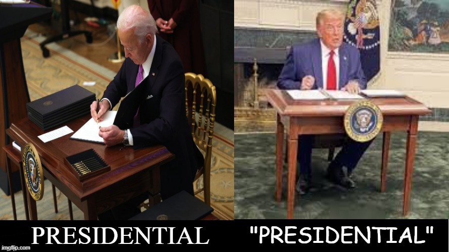 Why Is It That @JoeBiden Looks More #Presidential Sitting At A Tiny Desk Than #trump Ever Did?