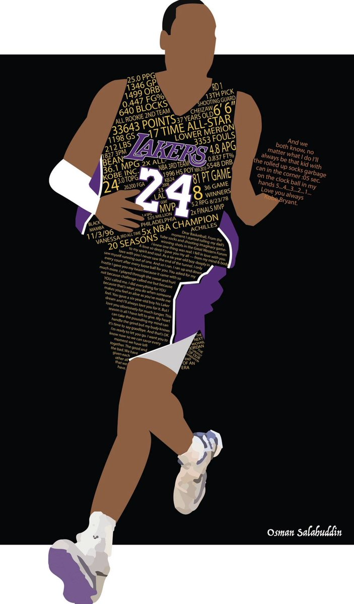 made this design back in 2016 as Kobe was retiring using his career stats and text from his 'Dear Basketball' film. RIP Kobe and Gianna.   #MambaForever
