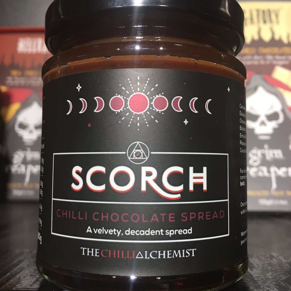 Spread the word.... CHILLI CHOCOLATE In a jar! A velvety decadent chocolate spread 🔥2/10 mmmm £5 #chocolate #deserts #nutella #chilli #foodie #valentinesgift #yummy
