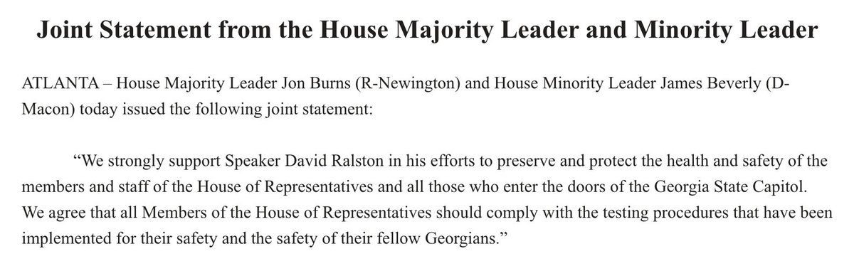 Joint statement from House Majority+Minority Leaders about the Speaker's move to remove Rep. David Clark for failing to get COVID tested. #gapol