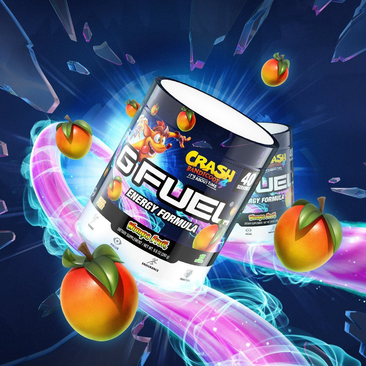 Its about time for some N. Sane Flavor!🤪 N. Sane Energy! 💪 N. Sane Adventure! 🗺 Celebrate Crash Bandicoot on his journey to save the multiverse with @GFuelEnergy Wumpa Fruit 🥭 bit.ly/2MmSRf4
