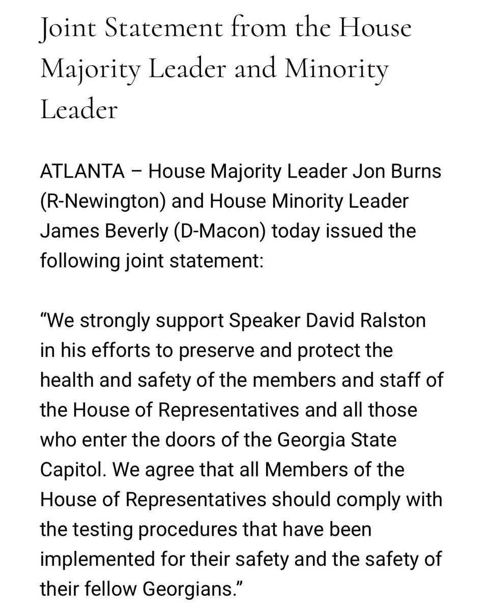 A bipartisan statement from the House majority and minority leaders supporting Speaker Ralstons decision to removed @RepDavidTClark from the chamber today. #gapol