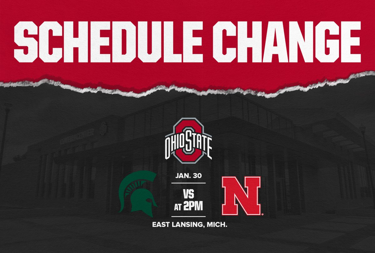 🚨 SCHEDULE CHANGE 🚨  With the postponement of our home meet against Michigan this weekend, we will now travel to East Lansing for a tri-meet with Michigan State and Nebraska on Saturday at 2 p.m.  📰   #GoBuckeyes