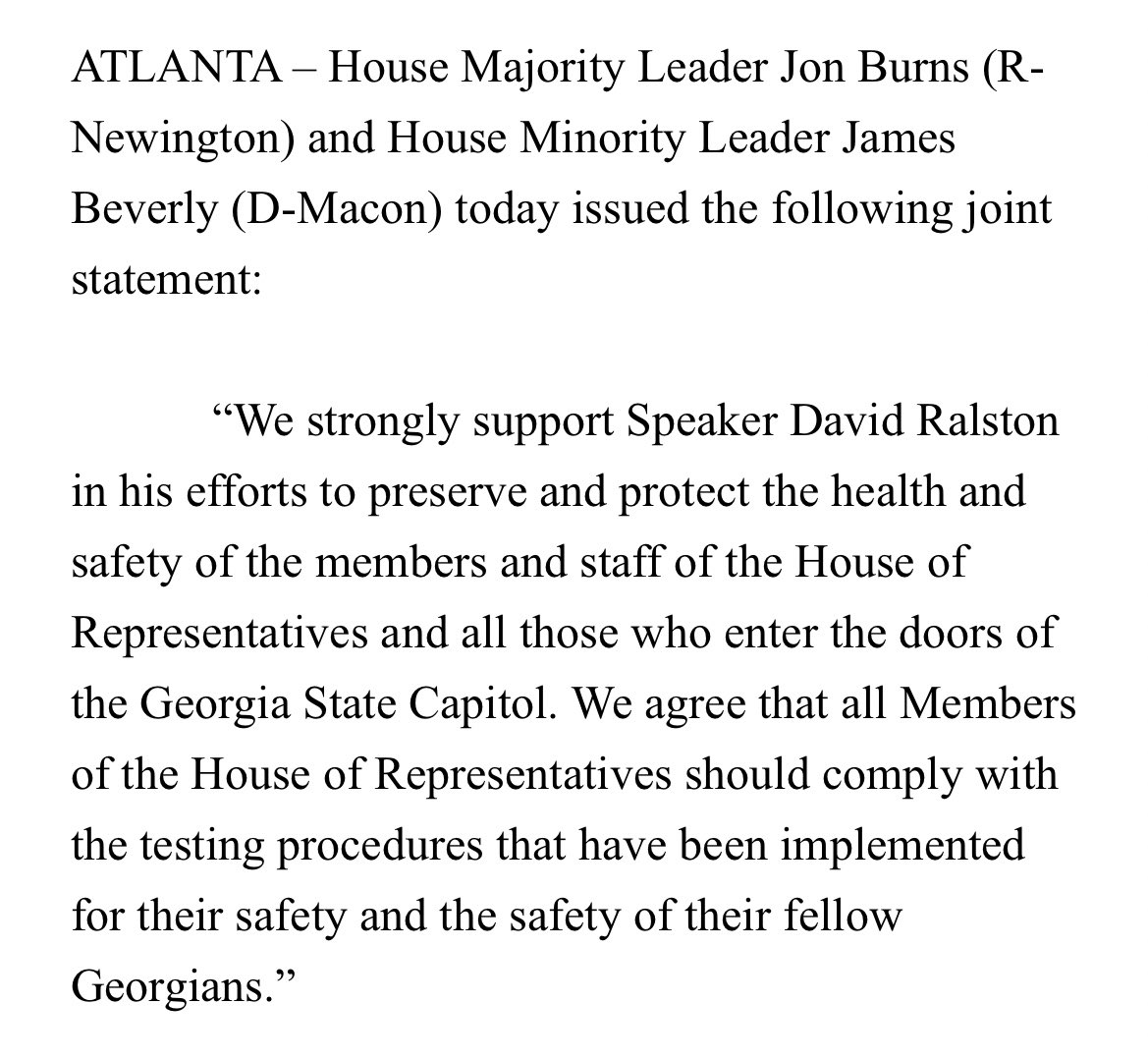 """Something both parties agree on: """"We strongly support Speaker David Ralston in his efforts to preserve and protect the health and safety of the members and staff of the House of Representatives and all those who enter the doors of the Georgia State Capitol."""" #gapol"""