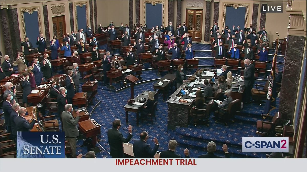 U.S. Senators are sworn in as jurors in Impeachment Trial of Former President Trump