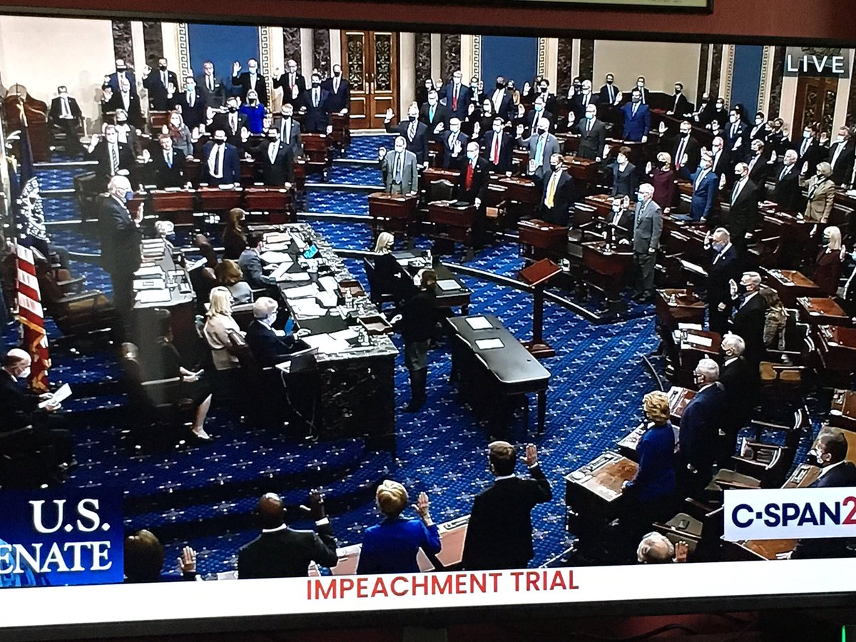 One of those very rare pictures of all Senators standing to be sworn in. You might not see that again in your lifetime #ImpeachmentDay