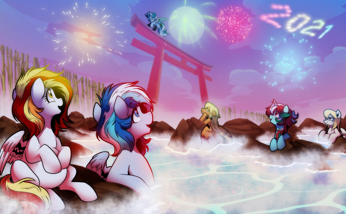 A #commission i did today.   #MLPFiM #mlpart #MLP #mylittlepony #pony #ponies #pegasus #unicorn #pregnant #fireworks #NewYearsEve