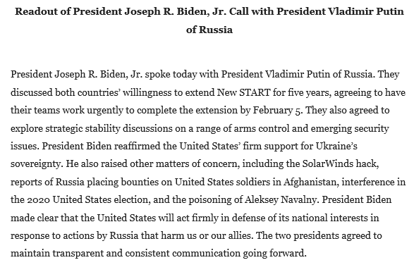 Here's the White House summary of Biden's call with Putin: