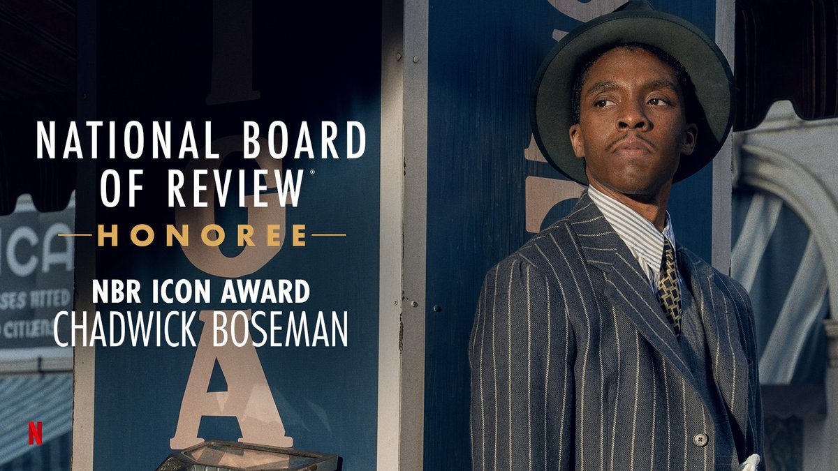 "Chadwick Boseman, described by NBR President Annie Schulhof as ""an extraordinary talent who represented the best of what an actor could be no matter what the role,"" is honored with the @NBRFilm Icon Award! 🏆"
