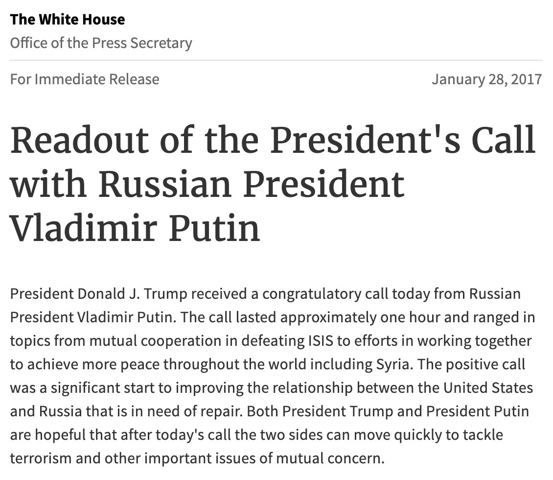 Replying to @lachlan: Readouts of Biden's and Trump's first post-inaugural conversations with Vladimir Putin