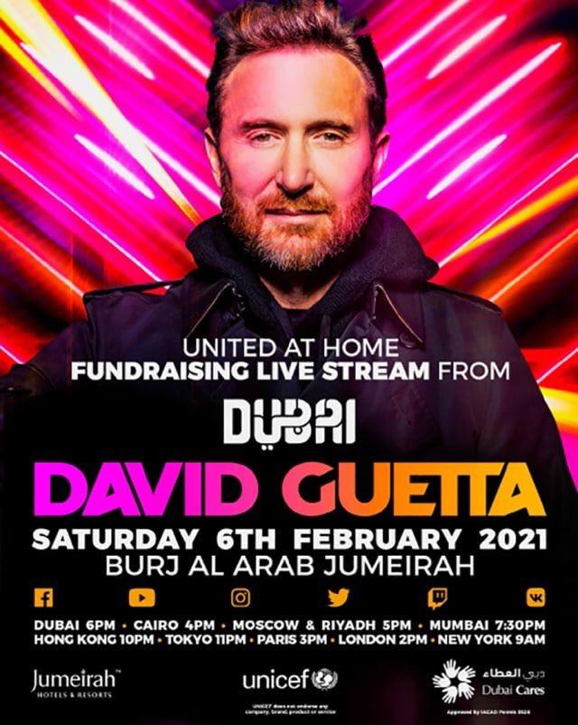 @davidguetta vuelve con la 4ta edición de #UnitedAtHome en esta ocasión desde la cima del Burj Al Arab en Dubái para recaudar para jóvenes y niño impactados por el CO-VID.  Este sábado 6 de Febrero 8 AM (Hora CDMX) a través de todas las redes de David Guetta.