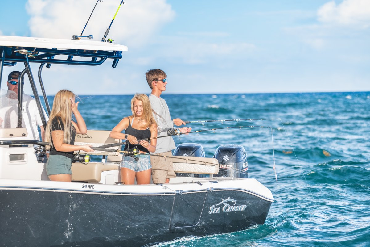 Quality family time onboard the 24 HFC ~ starting at $62,276.   #seachaser #24HFC #familytime