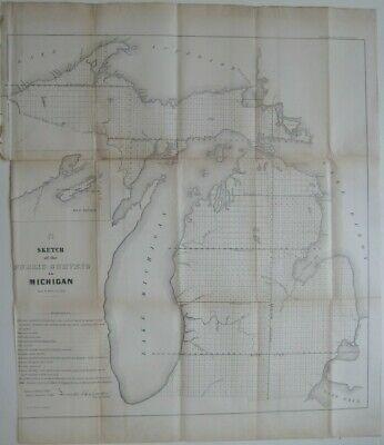 #OTD in 1837, #Michigan joined the Union!  Original large-format fold-out 1855 antique lithographed survey map of Michigan.  $79.99    #AntiqueMap #antique #map #cartography #history #ephemera #GiftIdeas #decor #DecorIdeas #SurveyMap #MapDealer #MapExpert