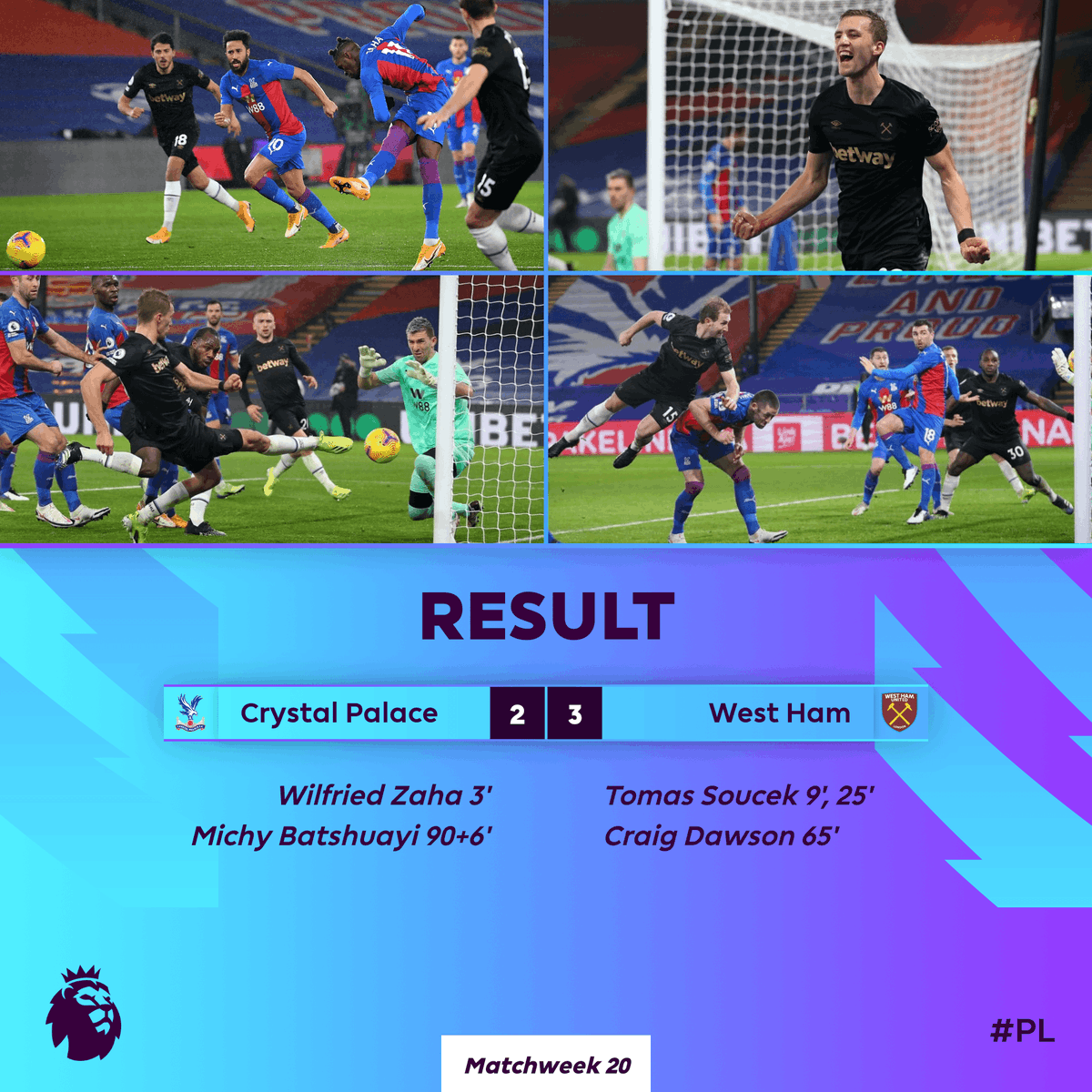 Replying to @premierleague: West Ham win again to go 𝐟𝐨𝐮𝐫𝐭𝐡 in the #PL 👏  #CRYWHU