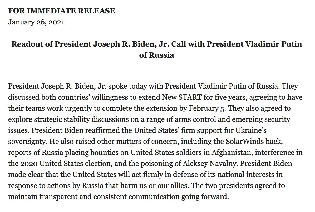 """The Russian summary of the Putin-Biden call has a little more  detail on vibe between the two men: """"On the whole, the conversation between the leaders of Russia and the United States was of a businesslike and frank nature. It was agreed to maintain contacts."""" https://t.co/Ecby5inTVp"""
