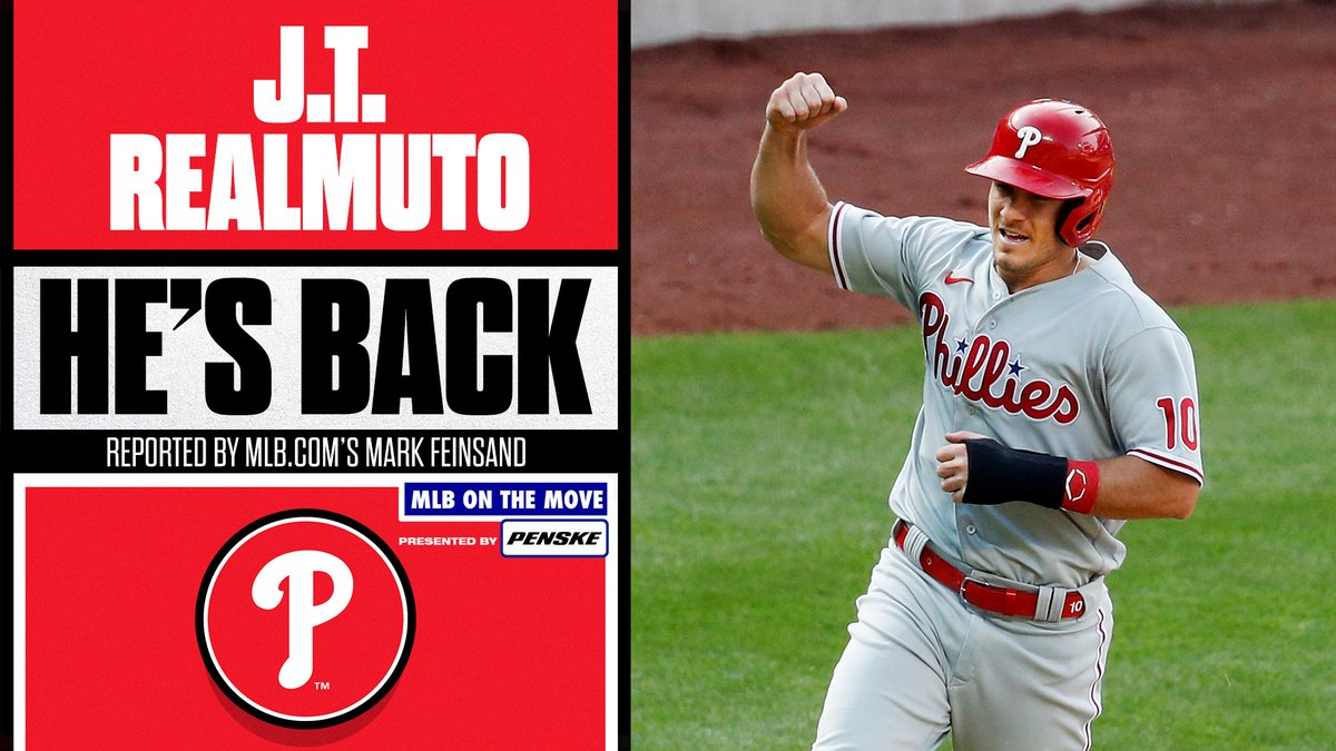 Star catcher J.T. Realmuto reportedly agrees to a 5-year, $115.5M deal to return to the Phillies, per 's Mark Feinsand.