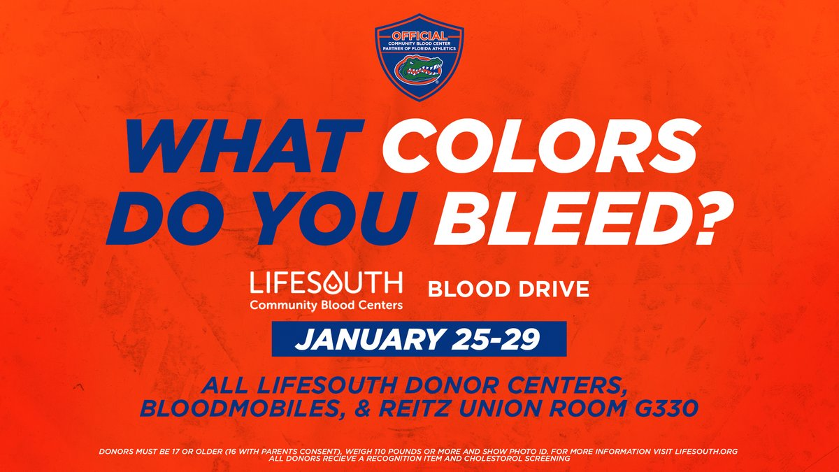 Calling all of #GatorNation. 🔷🔶 Help Florida beat Kentucky on and off the court! Help support @UF to victory. #donateblood #savelives   #GoGators