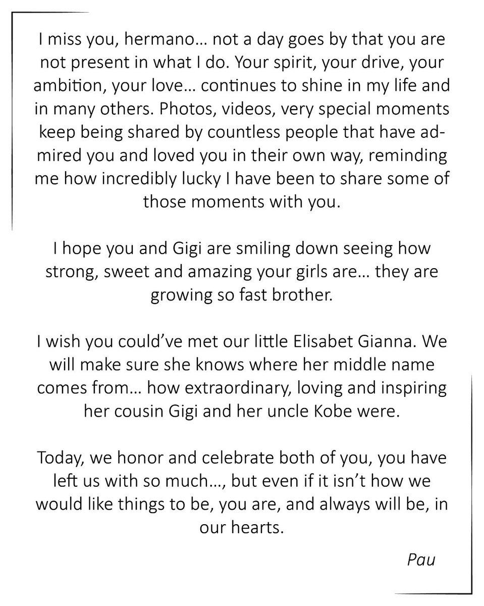 .@paugasol wrote a heartfelt message to Kobe and Gianna 💜