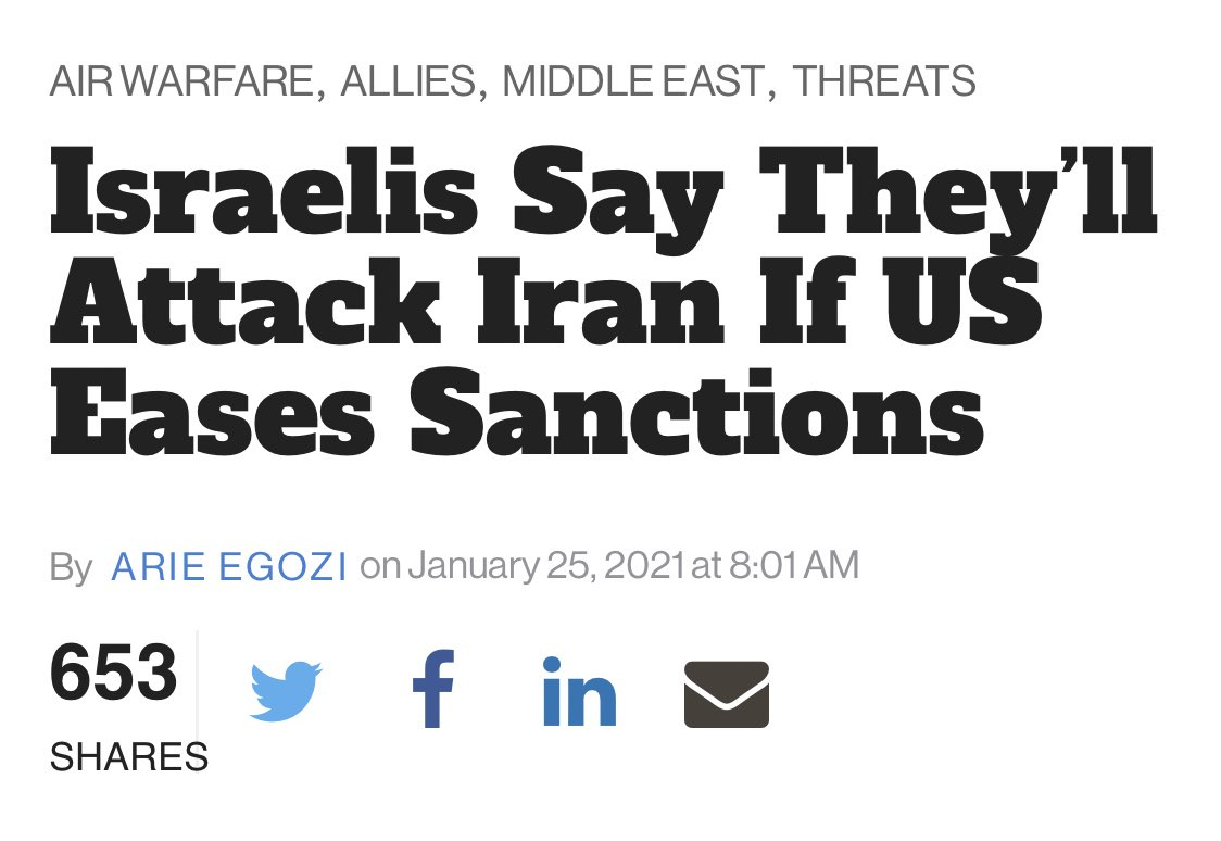 Israel now openly threatening to send the US to war with Iran because fuck you, America, that's why. https://t.co/j1cD4H4BTL