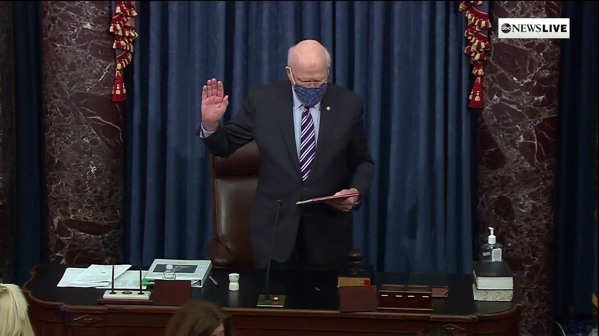 """Senate President Pro Tempore Leahy: """"Do you solemnly swear that in all things appertaining to the trial of the impeachment of Donald John Trump...you will do impartial justice according to the Constitution and laws, so help you God?""""  Senators: """"I do."""""""