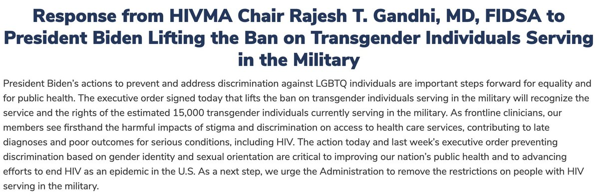 Ending #LGBTQ discrimination is essential to public health and ending HIV as an epidemic. @POTUS's executive order lifting the ban on #transgender military service is an important step forward.   Response from @HIVMA Chair @RMKGandhi: