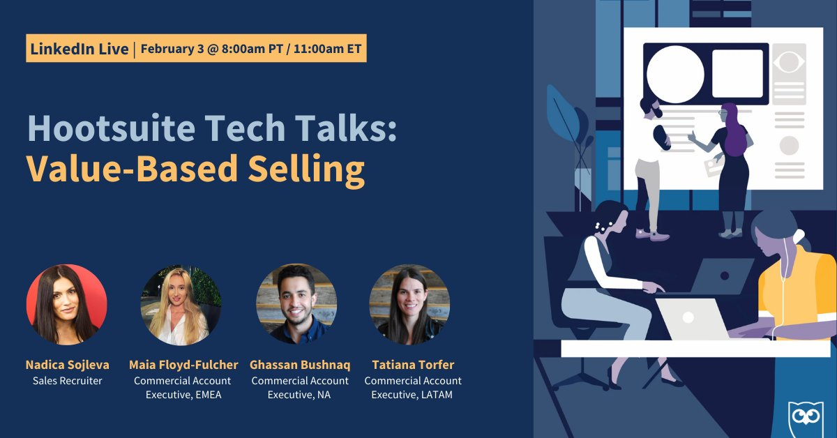 Tune in for a #LinkedInLive with Hootsuite's Recruiter and Commercial Account Executives (CAE) from across the globe! 🌎  They'll explore:   ✅ Value-based selling 🏷 Bringing values-selling to life in your sales process 💻 Joining Hootsuite's CAE team