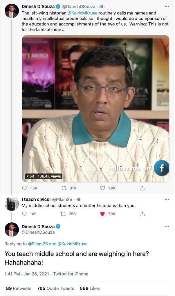 I can't underscore enough that one middle school teacher is worth a million Dinesh D'Souzas. https://t.co/wOg92lpDSr