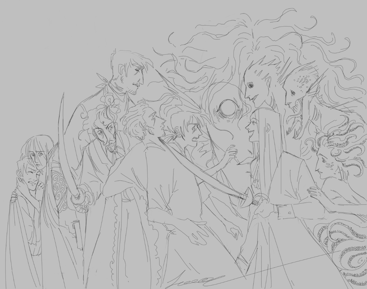Pirates sketch. Maybe I'll color it someday, but it looks like a lot of work; we'll see. #ArtistOnTwitter #artistsontwitter #art #sketch #Pirates #illustrationart #illustration #originalcharacters #DavyJones