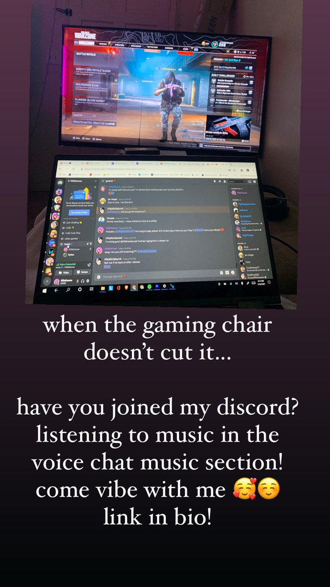 I'm Vibin out in the music 🎶🎶 voice section in my Discord!  Come hang with me :)      #Vibez #vibe #music #newmusic #AGoodDayToBeAlive #discord #girlgamer #gamergirl #hangoutsesh #hangsesh