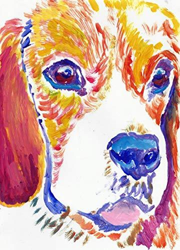 Beagle Puppy Wall Art Decor, Colorful Dog Art Print, Beagle Owner Gift, Beagle Nursery Art Painting Choice Of SIzes Hand Signed By Pet Portrait Artist Oscar Jetson  #decor #painting #art