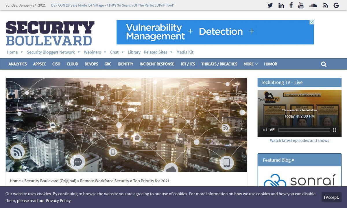Remote Workforce Security a Top Priority for 2021 #priority #work #cloud #security #pandemic #remotework via  ☛