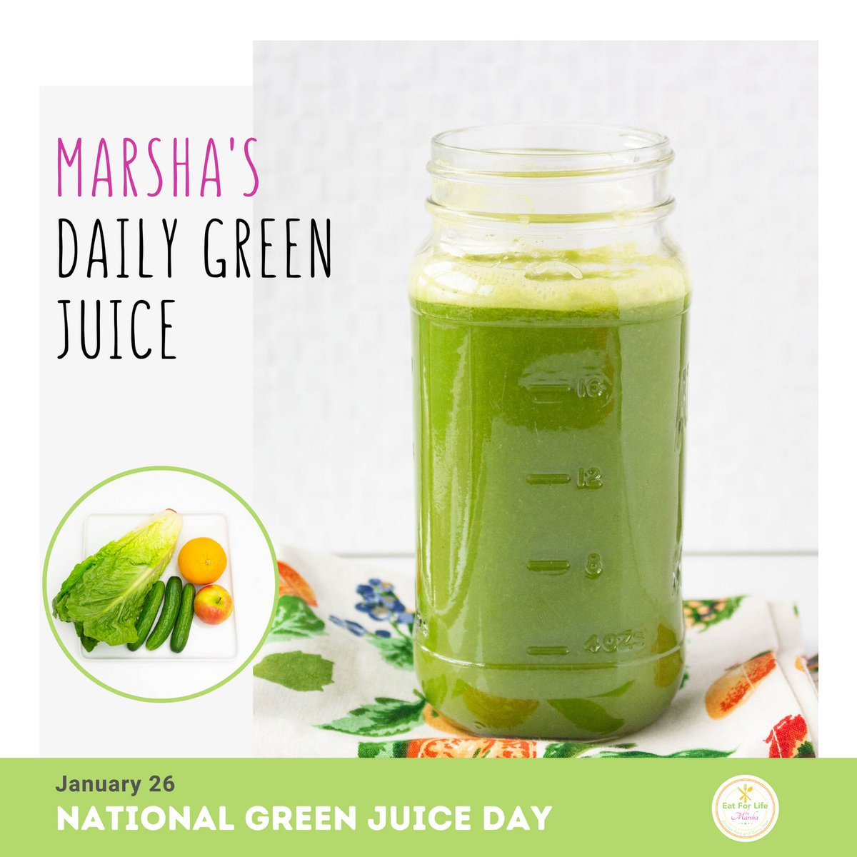 "On #NationalGreenJuiceDay, the celebration encourages you to include more #veggies in your healthy meal plan. This #greenjuice provides a healthy dose of fiber, antioxidant compounds, vitamins and minerals. Make it easy for me to ""Eat For Life""  😊🍃🍎🥒  #plantbased #vegetarian"
