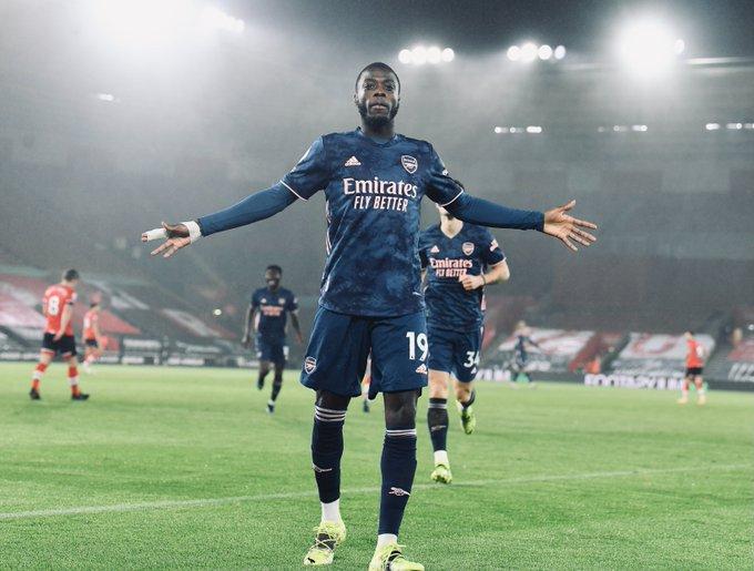 Nicolas Pepe celebrates against Southampton