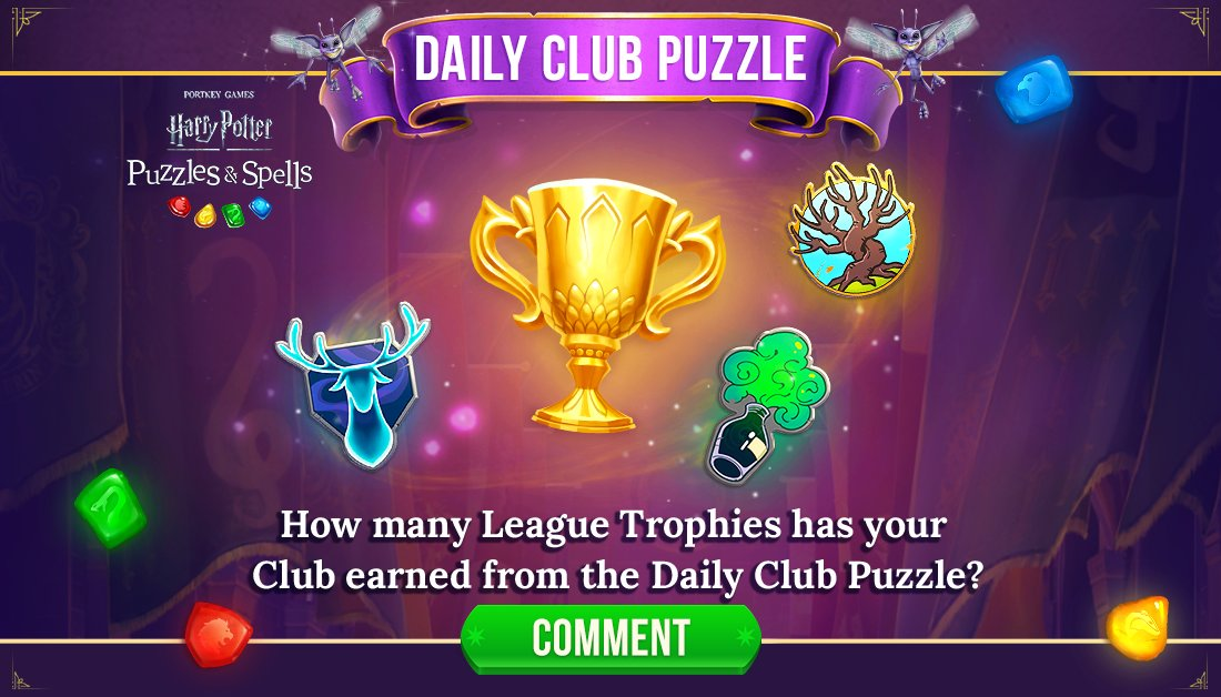 More puzzle winners = More League Trophies! How many has your Club earned from the Daily Club Puzzle? Comment below!  Complete your Daily Club Puzzle NOW ➡️   #HarryPotter #PuzzlesAndSpells #Match3
