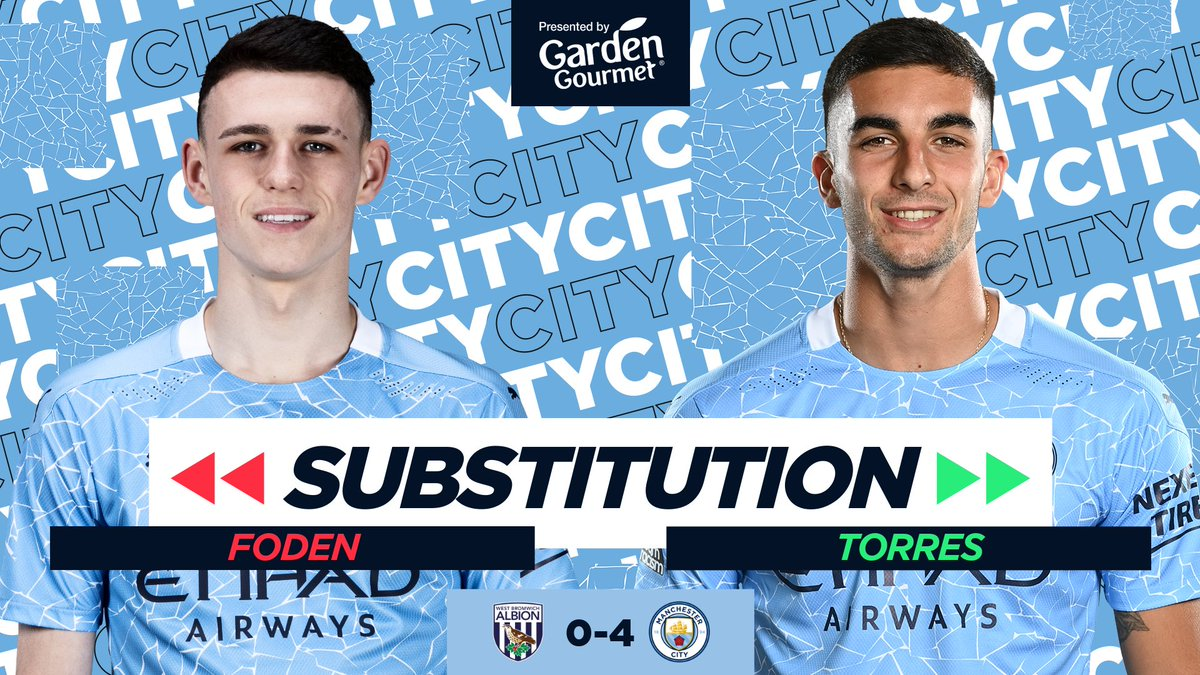 Replying to @ManCity: CITY SUBS | Double substitution 🔄  ⚪️ 0-4 🔷 #ManCity |