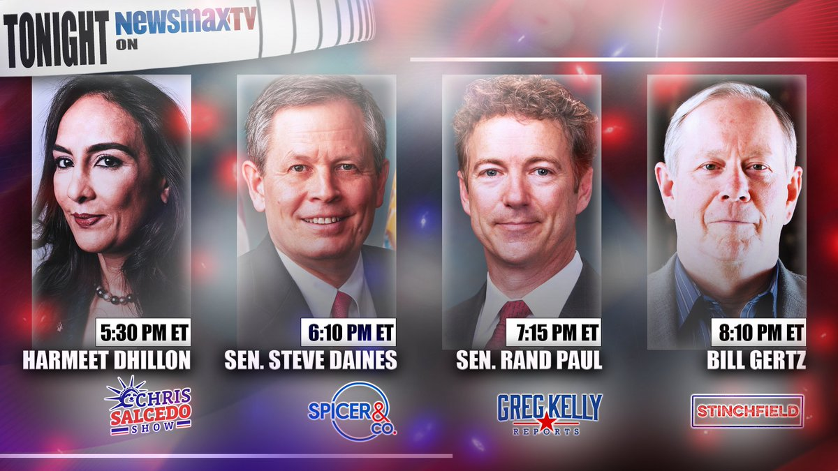 PROGRAM ALERT 🚨:  • 5:30PM ET: @pnjaban joins The Chris Salcedo Show • 6:10: @SteveDaines joins @seanspicer  • 7:15: @RandPaul joins @gregkellyusa  • 8:10: @BillGertz joins @stinchfield1776   WATCH LIVE on Newsmax TV: https://t.co/VlT7z8drtO https://t.co/Te7tdtLHPJ