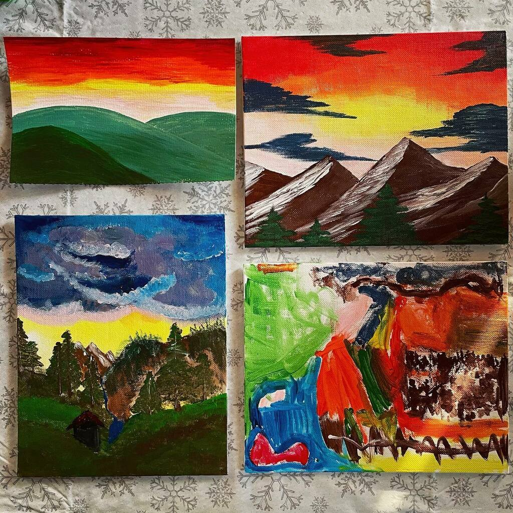 """Our new family fun has been """"painting with Bob,"""" we just turn on an old episode and make some friendly little trees #family #familytime #familyfun #paintings #paintingwithbobross #bobross"""