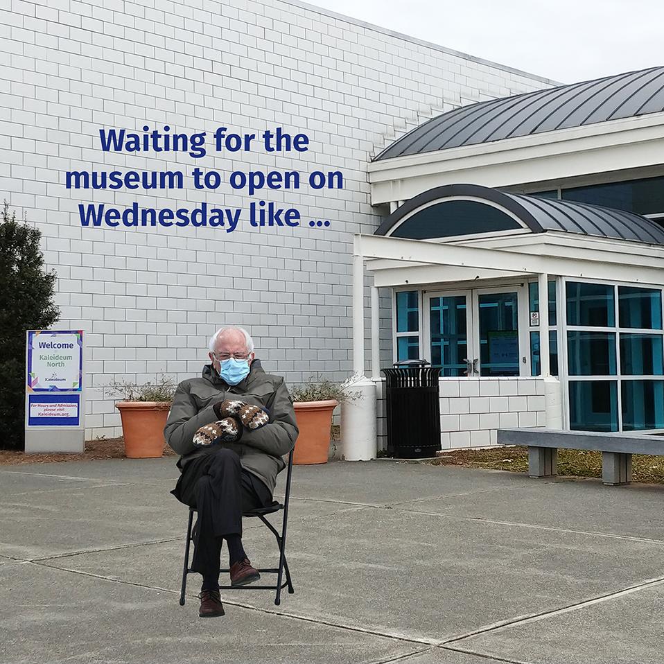 Be like Bernie and visit Kaleideum North on @wsfcs WOW Wednesdays ... we'll be open from 10 am-4 pm. #Wednesdayvibe #BernieSandersMittens #kaleideum #mywsnc #winstonsalem
