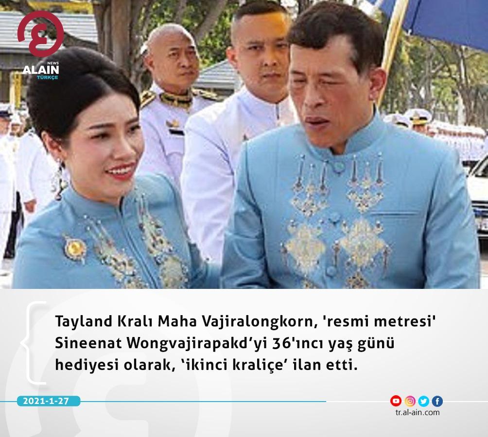 Tayland Kralı Maha Vajiralongkorn, 'resmi metresi' Sineenat Wongvajirapakd'yi 36'ıncı yaş günü hediyesi olarak, 'ikinci kraliçe' ilan etti.  #Dünyayaaçılangözünüz #AlAinAlİhbariye https://t.co/chf7TO9Lg0