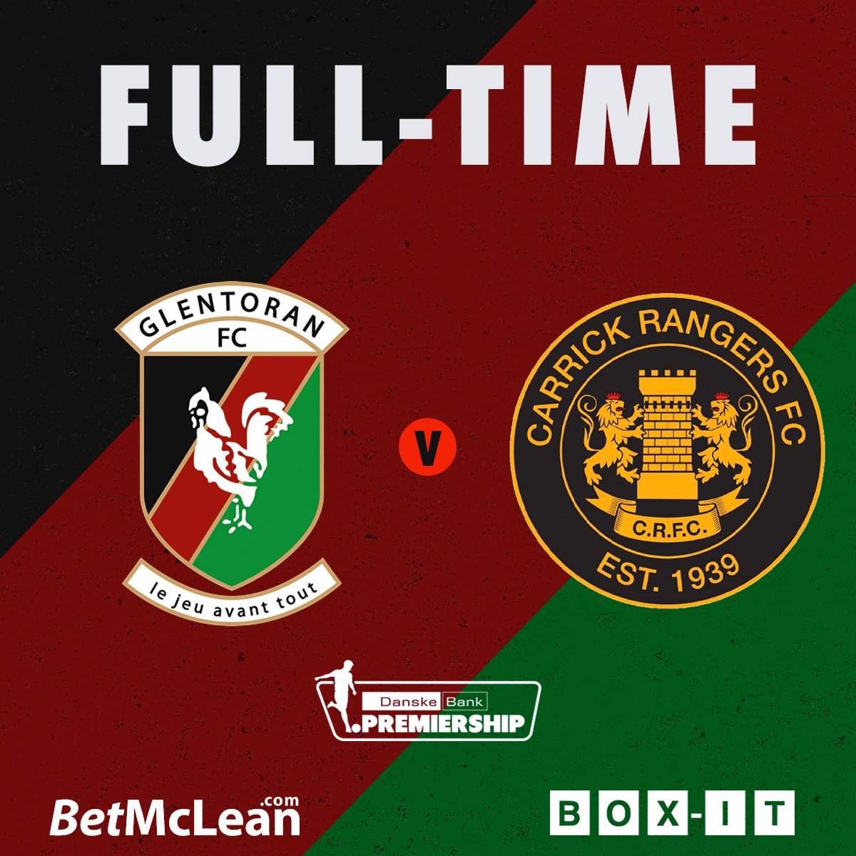 FULL-TIME   GLENTORAN 2-0 CARRICK The 10 men grab 3 points with goals from Jay Donnelly and Robbie McDaid #COYG