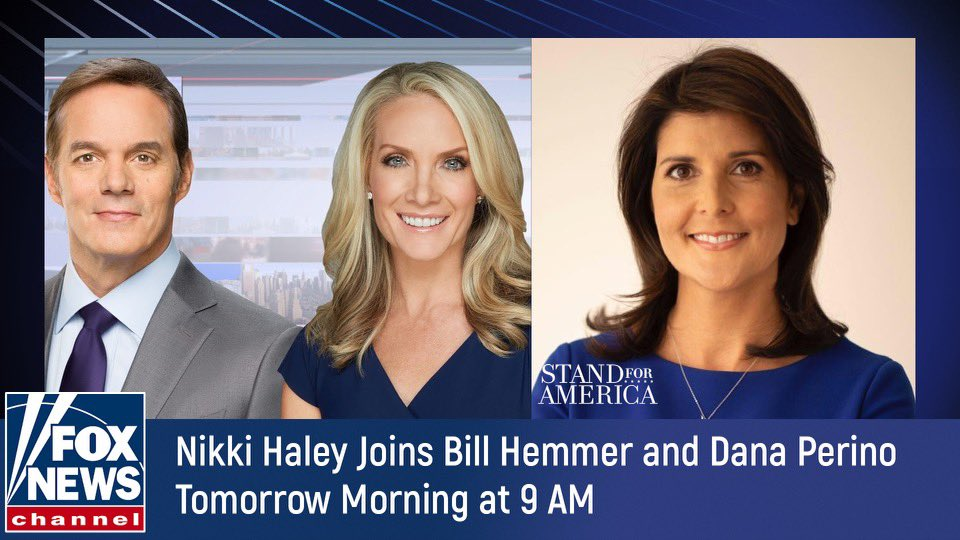 Looking forward to joining @DanaPerino and @BillHemmer tomorrow morning. Hope you will tune in.