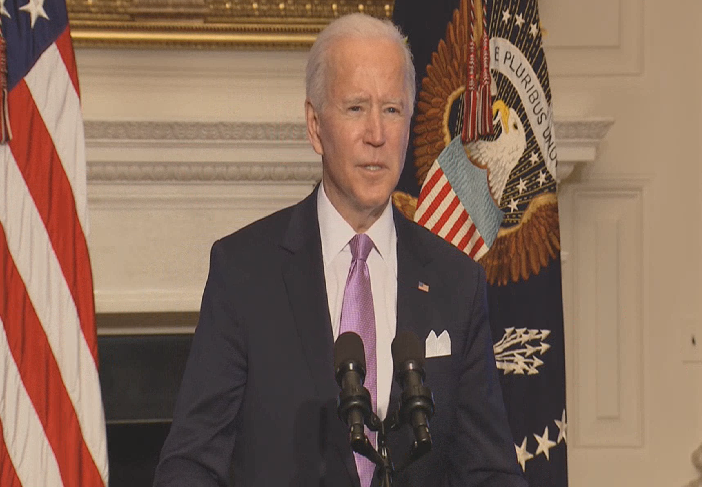 """""""I hope you're all asking me by the end of the summer: you have too much vaccine left over,"""" Biden says."""