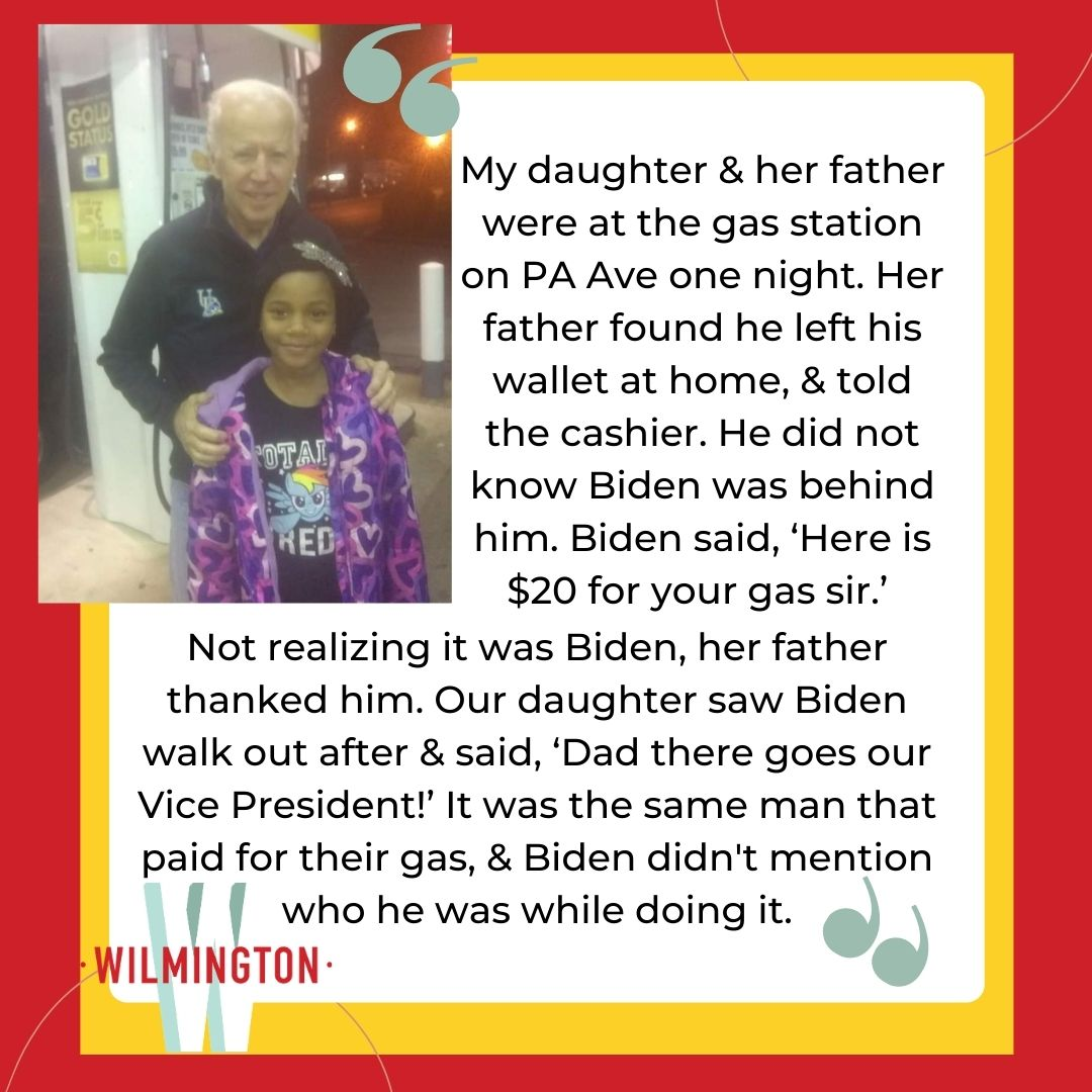 "Congrats to our ""How do you know Joe?"" contest winners, who will get some Biden themed swag. Read the winning story (submitted anonymously), and check back on #ThrowbackThursday for the winning photo!  #ItsTimeWilmDE #InWilm #WilmLove #WilmingtonDE #WilmDE #WilmingtonDelaware"