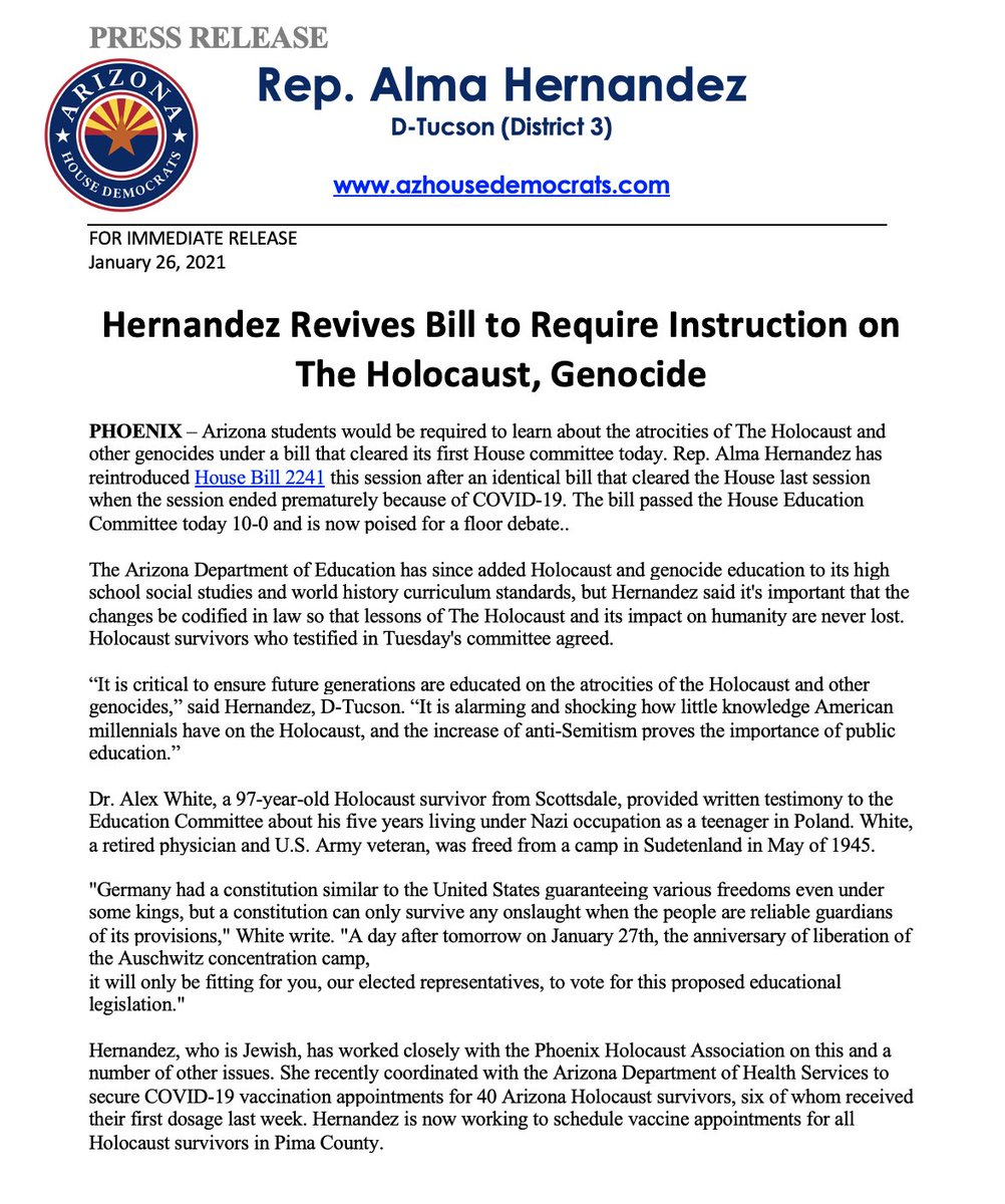 PRESS RELEASE: Hernandez Revives Bill to Require Instruction on The Holocaust, Genocide #azleg