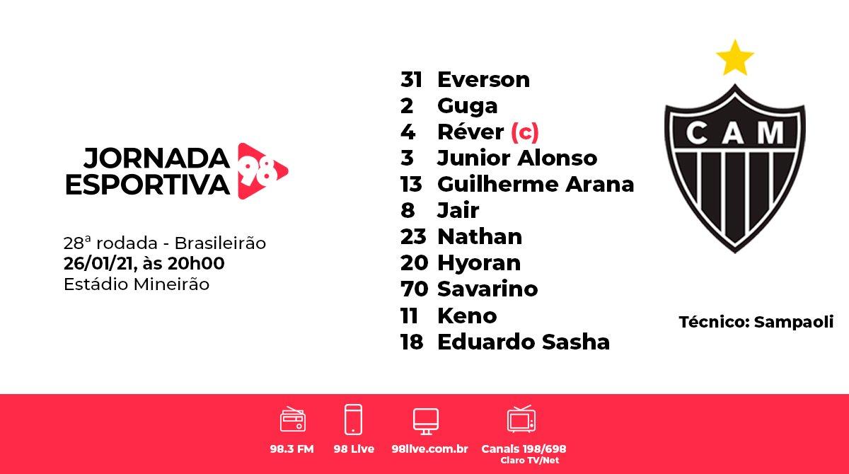 #JornadaEsportiva98   O @Atletico está definido com o retorno de Réver, Nathan no meio-campo e Sasha ganhando a posição de Vargas. Confira! 👇