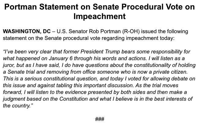 My statement on the Senate procedural vote today on Impeachment:
