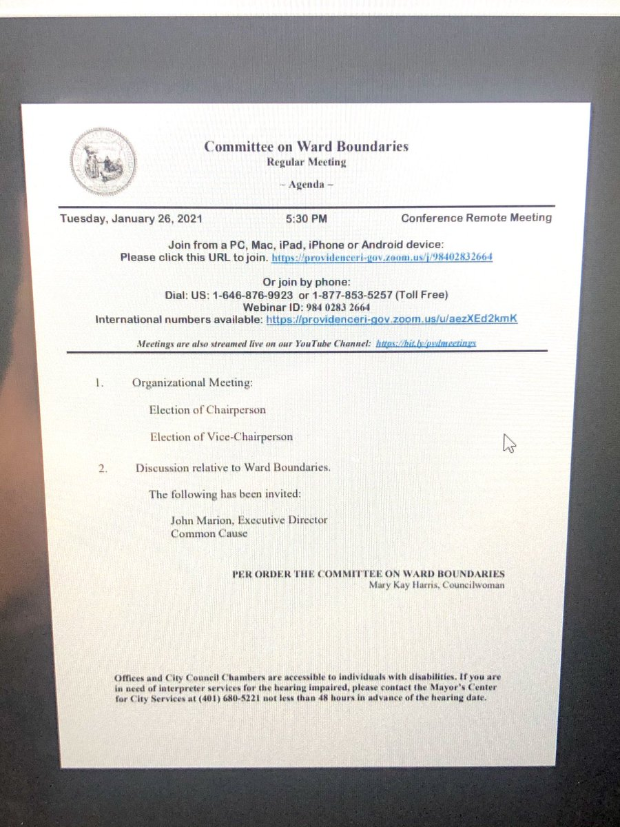 @pvdcitycouncil Prez @Sabina_Matos  Committee on Ward Boundaries Inaugural Meeting Today @5:30PM   1. Org Meeting 2. Discussion relative to Ward Boundaries by @JohnMarionjr #Redistricting #Equity #Census2020