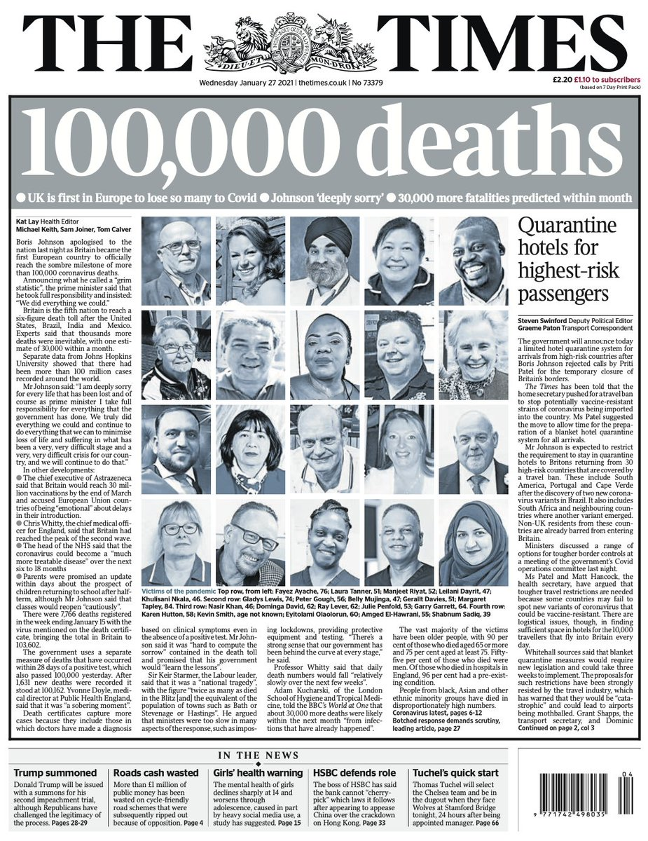 "Wednesday's Times: ""100,000 deaths""   #BBCPapers #TomorrowsPapersToday"