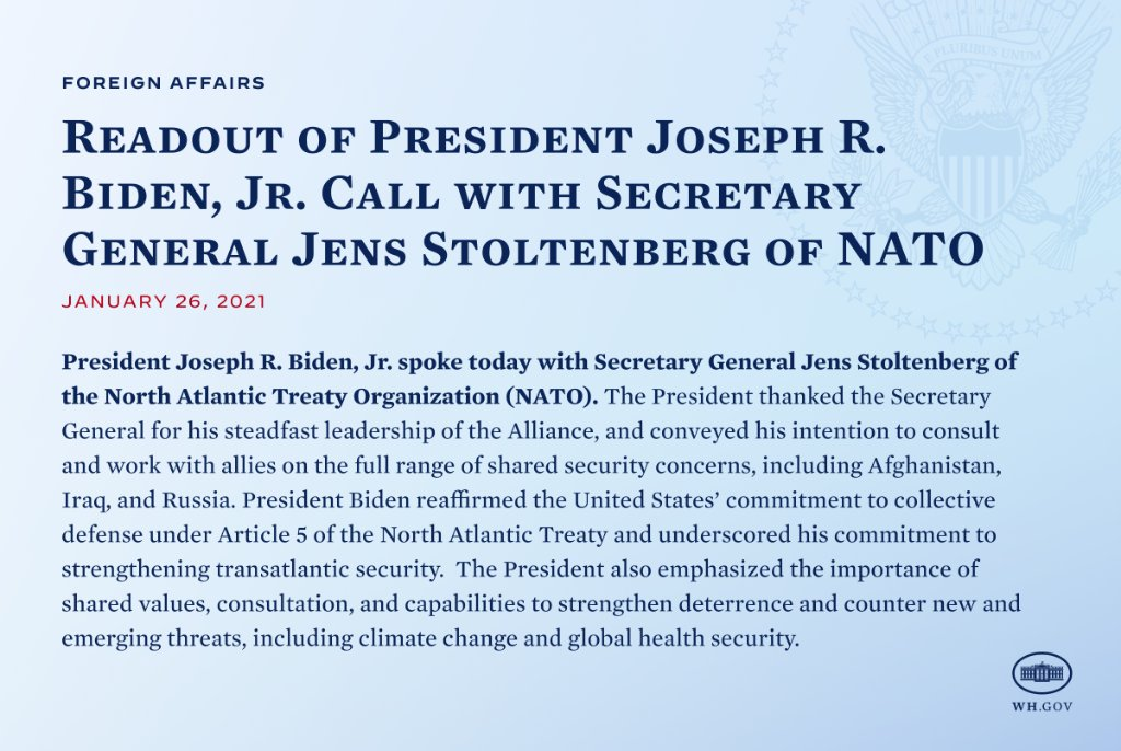 Replying to @WhiteHouse: Readout of President Biden's call with NATO Secretary General @JensStoltenberg.